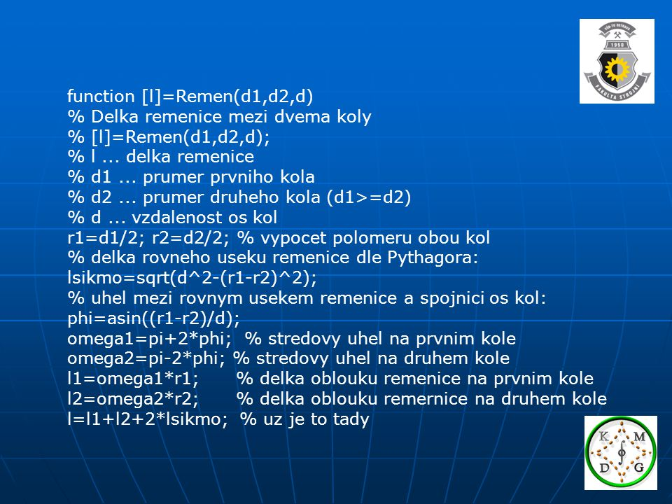 function [l]=Remen(d1,d2,d)